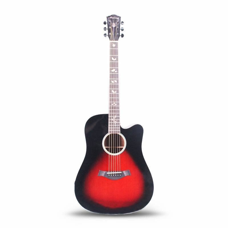Artiny 41 inch solid top acoustic guitar with gloss finish black burst color QAG085